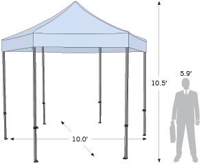 Advertising Tent Plus Hex with dimension information