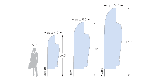 Bowflag<sup>®</sup> Custom Shape height options and flag width dimensions