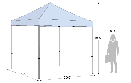 Advertising Tent Compact 10x10 sketch with dimensions
