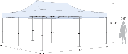 20x20 tent sketch with dimension information