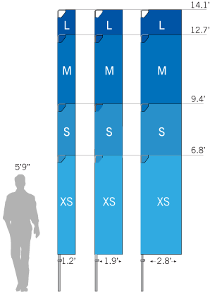 Bowflag<sup>®</sup> Rectangular with Banner Arm size chart